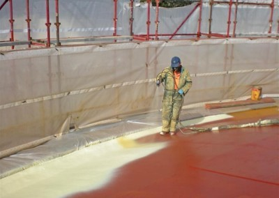 On-site at Bolivar Sewage Treatment Plant - spraying insulating sealant on the digester lid